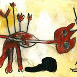 絵:「猫、朱色」ギャラリーに追加しました。