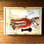 絵:「猫、朱色③」ギャラリーに追加しました。