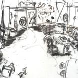 書:「書、無題、27」.絵:「夕焼け、25」.スケッチ:「アトリエ、机にコーヒー」ギャラリーに追加しました。